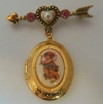 Vintage Avon Gold-tone Cupid Locket Brooch Arrow Heart Rhinestone, Faux ... - $14.99