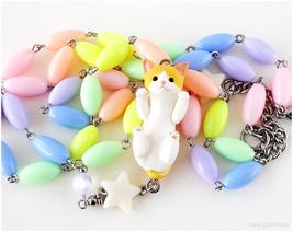 Cat Necklace, Pastel Necklace, Cat Figurine, Fairy Kei Necklace, Kawaii ... - $43.00