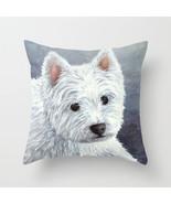 Throw Pillow Cushion case Made in USA Dog 137 White Westie blue art L.Dumas - $29.99+