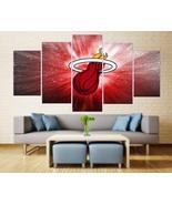 Miami Heat Canvas Painting Poster 5 Piece Framed NBA Miami Heat Wall Ar... - $74.99+