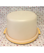Vintage Tupperware cake taker Harvest Gold base 684-8 with sheer white lid - $6.00