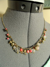 AVON Strand Beaded Necklace Goldtone Pink Salmon Clear & Wood beads Vintage Chic - $19.79