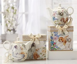 Cat or Dog Tea for One Teapot 17 oz with Tassel Accent with Matching Giftbox NEW