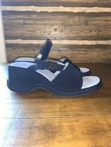 Nine West Women's Sandals Size 8.5 Navy Blue Cloth Comfort Slide-In w Strap - $31.68