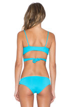 NWT L SPACE M swimsuit bikini 2PC turquoise Chloe wrap top Estella cutout bottom image 3