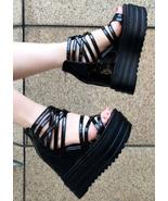 88H158 Elegant strappy ankle wedge pump peek open Size 4-8, black - $52.80