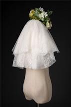 Ivory Shoulder Length Wedding Bridal Veils Layer Floral Lace Tulle Bridal Veils  image 4