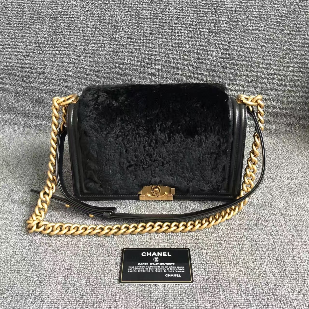 AUTHENTIC CHANEL LIMITED EDITION BLACK RABBIT FUR MEDIUM BOY FLAP BAG GHW