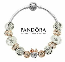 Authentic Pandora Bracelet S925 with 13 charms Disney Minnie Mouse Rose ... - $69.99