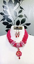 FUCHIA PINK MULTIPLE STRAND OF SEED BEADS WITH DRUZY PENDANT JEWELR SET,... - $164.02