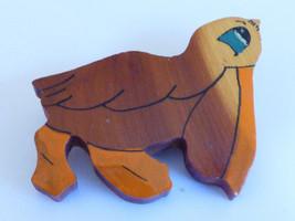 VTG 1943 Hand Carved handpainted Wood Pelican Pin Brooch - $30.89