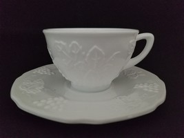 4 Vintage INDIANA COLONY HARVEST GRAPE MILK GLASS Cup & Saucer Sets - $17.75