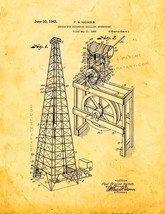 Device for Recording Drilling Operations Patent Print - Golden Look - $7.95+