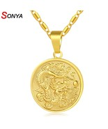 SONYA Classic Auspicious Dragon Pendant Necklace For Women Men Gold Colo... - $9.74