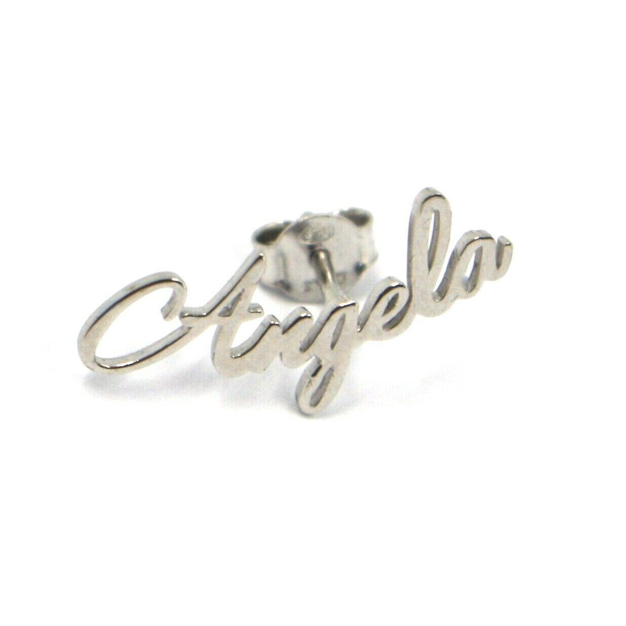 925 STERLING SILVER EARRINGS, WRITTEN NAME ANGELA, MADE IN ITALY