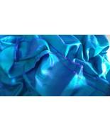 Paper Silk Fabric cloth sari saree for dress decor Peacock Blue 5.5 mtr ... - $30.10