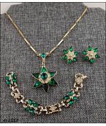 Vintage Green Rhinestones Pendant Bracelet and Earrings (#J1358) - $68.00