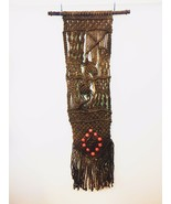Vintage Unique 70s Large Macrame Wall Hanging Tapestry Jute Beads Handma... - $130.64