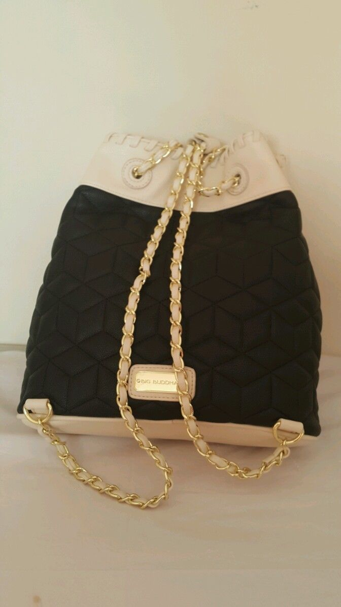 NWT Big Buddha Blk/Cream Gold Tone Chains Ladies Backpack BBO09505