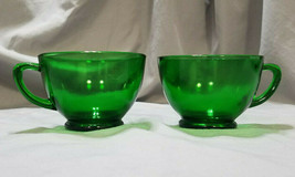 Vintage Anchor Hocking Forest Green Cups - Set of 2, 1957-1965 - $6.75