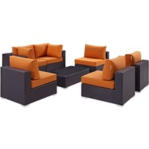 Convene 7 Piece Outdoor Patio Sectional Set Espresso Orange EEI-2164-EXP... - $2,359.75