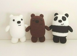 Complete Set of We Bare Bears crochet plush, Grizzly, Panda and Ice Bear - $63.30