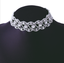 GOLD SILVER RHINESTONE CHOKER SPARKLING CRYSTAL BRIDAL WRAP NECKLACE BEA... - $16.99