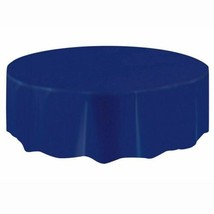 "Amscan Plastic Table Cover 84"" Round Royal Blue - $7.05"