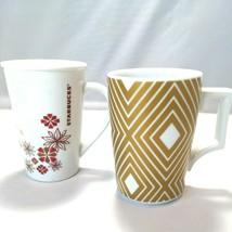 Lot of 2 Starbucks Mugs by Rosanna Gold White Diamonds And Red Stars Flo... - $24.69