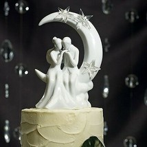 """Written in the Stars"" Bride Groom Sitting on Moon Wedding Cake Topper C... - $48.78"