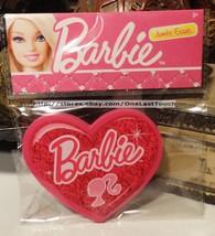 BARBIE Pink Heart Shaped w/Logo JUMBO ERASER Cool for School MATTEL New! - $2.98