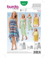 Burda Ladies Easy Sewing Pattern 6651 Shirring Dress, Top & Skirt - $14.21