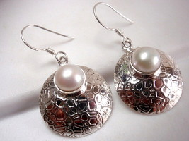 Pearl Round Convex Earrings 925 Sterling Silver Dangle Webbed Design Accents - $19.75