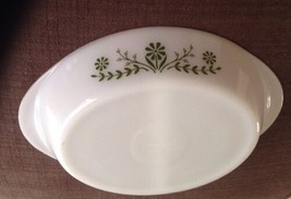 Vintage Glasbake White Glass Serving Divided Dish  Green Daisy Flowers - $17.99
