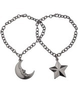 Star Moon BFF Best Friends Forever Gunmetal Bracelet Set Man In Accesso... - £23.58 GBP