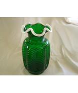 Eye Catching Fenton Glass Spiral Optic Emerald Green Snow Crest Vase - $225.00