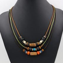 Women Necklace Female Statement Necklaces & Pendants 2018 Wood Beads Flo... - $9.63