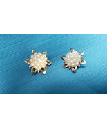 Lot 2 Matching Simulated Pearl Cluster Brooch Vintage - $15.99