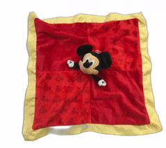 Red Mickey Mouse Security Blanket Lovey Soft Baby Toy Plush Yellow Trim ... - $12.38