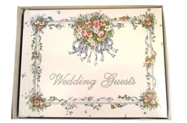 """HEARTS AND FLOWERS WEDDING GUEST BOOK CR GIBSON 7.5"""" X 6"""" (DN1) - $19.99"""