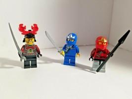Lego Lot of 3 NINJAGO MINIFIGURE RED Warriors Ninja Guys Weapon Sword Blue - $18.04