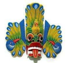 Sri Lankan Handmade Wooden Wall Hanging Traditional Tiki Peacock Mask Ar... - $64.52