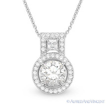 Round & Princess Cut Micro-Pave CZ Crystal Halo Pendant in .925 Sterling Silver - $51.97 - $52.71