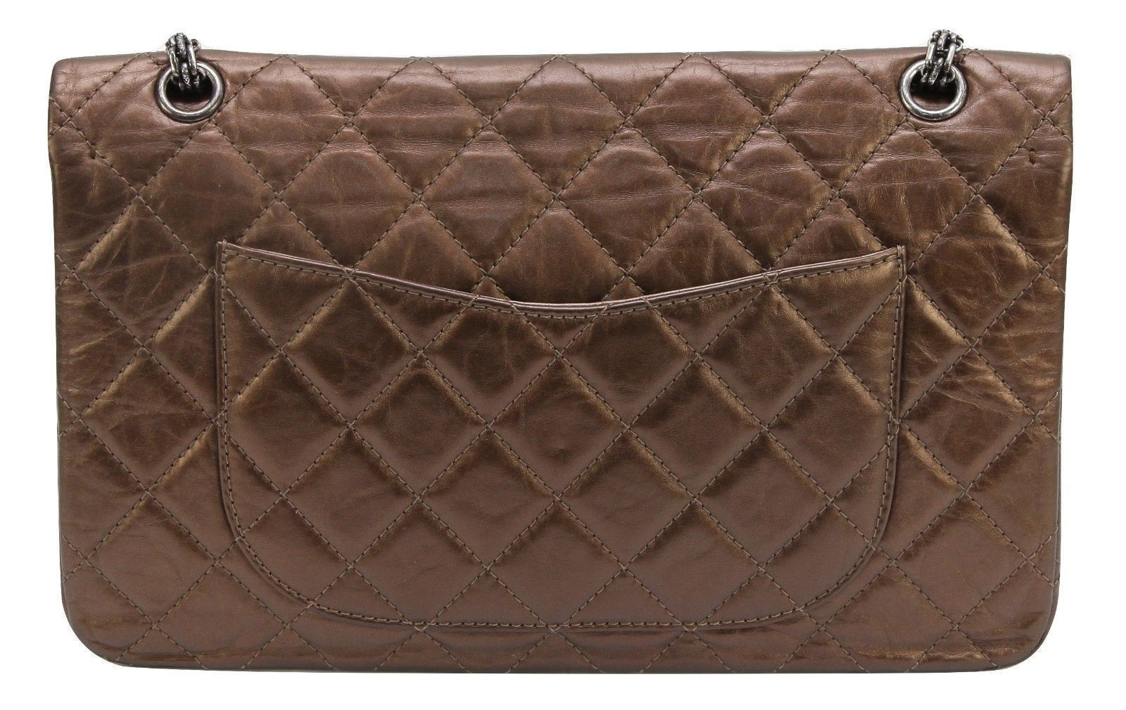 ff7acac590c837 CHANEL Bag Metallic Leather 2.55 Reissue 227 Bronze Flap Shoulder Ruthenium  HW