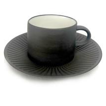 8 Dansk Jens Quistgaard Flamestone Fluted Brown Cup Saucer Sets IHQ Denmark - $96.74