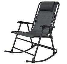 Folding Rocking Chair Black Zero Gravity Sling Back Outdoor Lawn Patio F... - $74.99