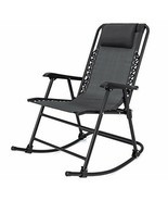 Folding Rocking Chair Black Zero Gravity Sling Back Outdoor Lawn Patio F... - $111.01 CAD