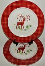 Plaid Prancer Canterbury Potteries Dinner Plates 2014 Stoneware Christma... - $34.64