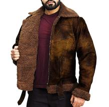 B3 Aviator Pilot Distressed Brown Artificial Fur Shearling Bomber Leather Jacket image 2