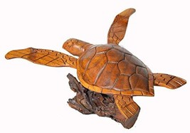 WorldBazzar Hand Carved LG Mahogany Flying Turtle ON Coral Log Drift Wood - $29.64